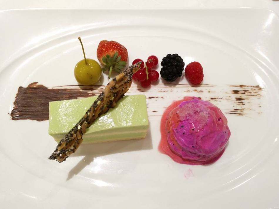 Dessert - Pandan layer cake, almond crisp & red pitahaya ice cream with bird's nest