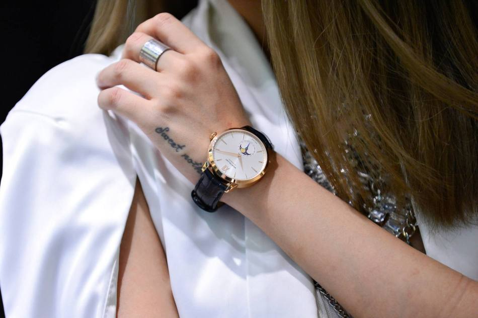 A close-up view of the Montblanc Heritage Spirit Moonphase on Stephanie's wrist
