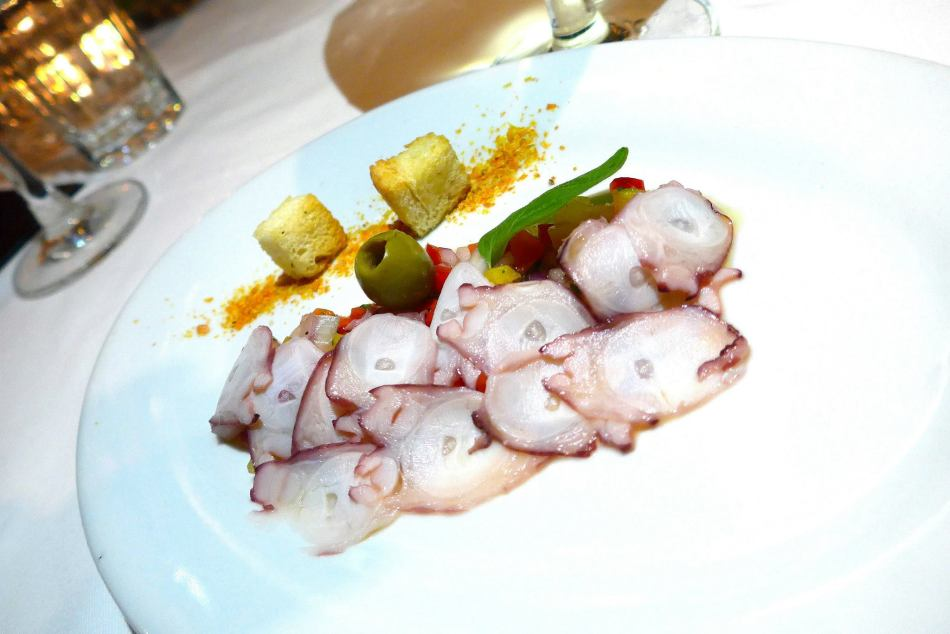 Starter - Octopus Carpaccio, Tomato Crouton, Pickled Vegetables, Aged Balsamic and Green Olives (or vegetarian)