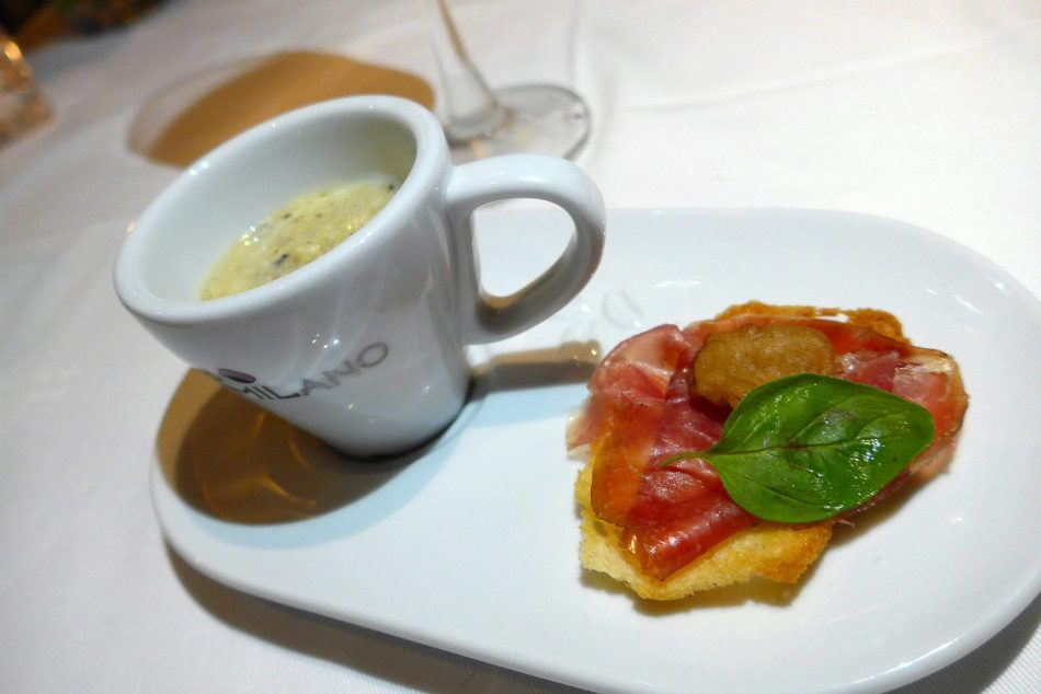 Amuse Bouche - Grilled Artichoke Cream, Cecina Ham and Crispy Wild Mushrooms