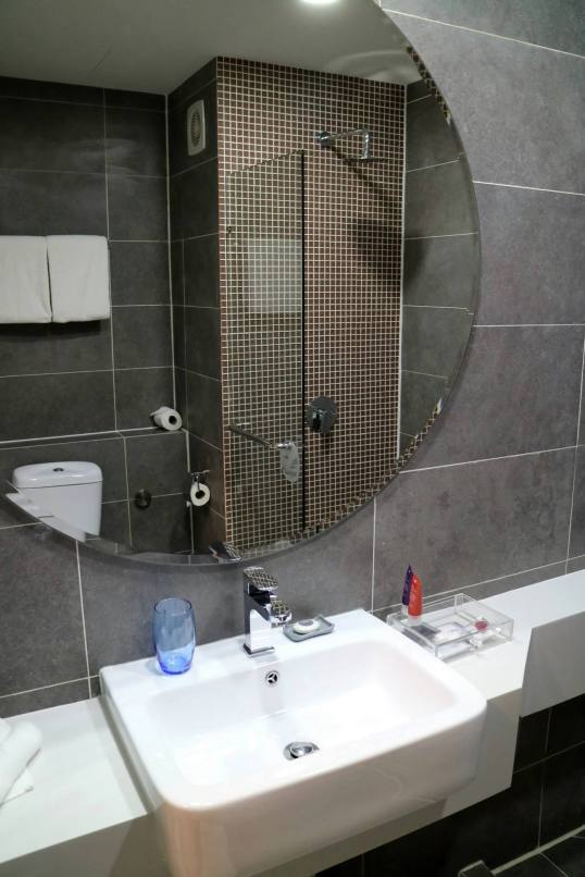 Nice big mirror and complimentary toiletries