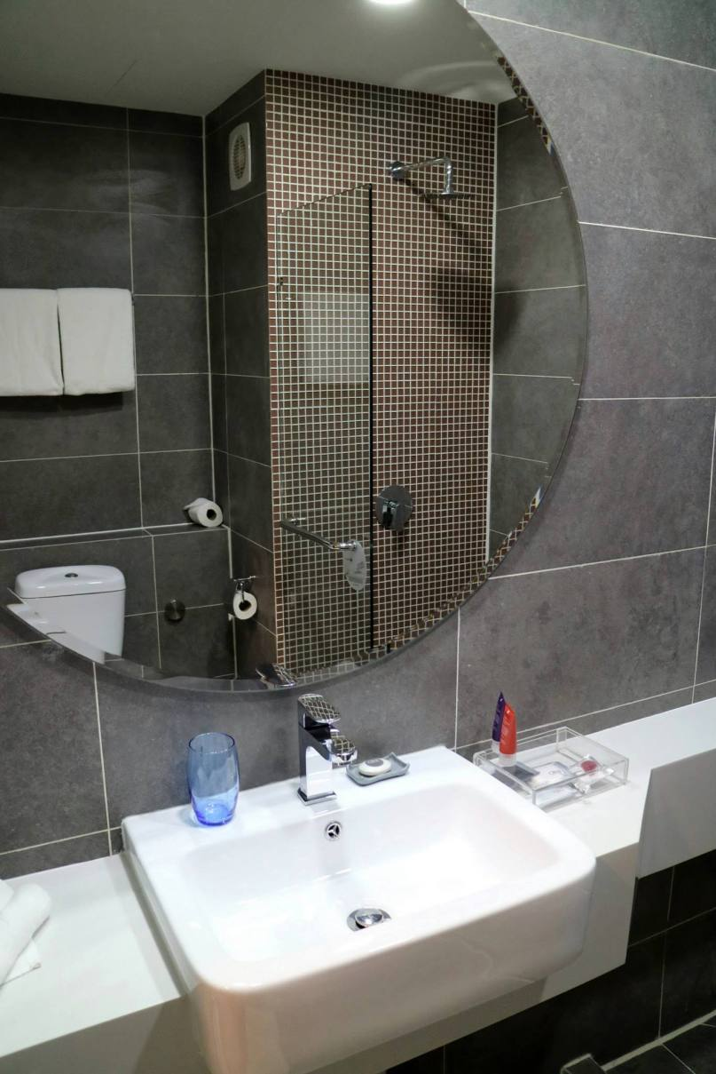 Nice big mirror and complimentary toiletries