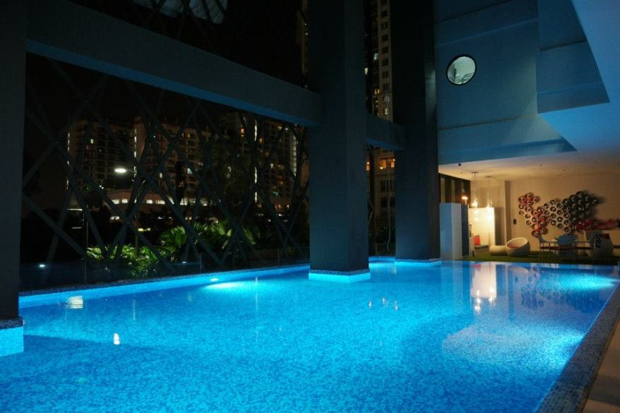There is a salt water swimming pool where you can take a dip to unwind