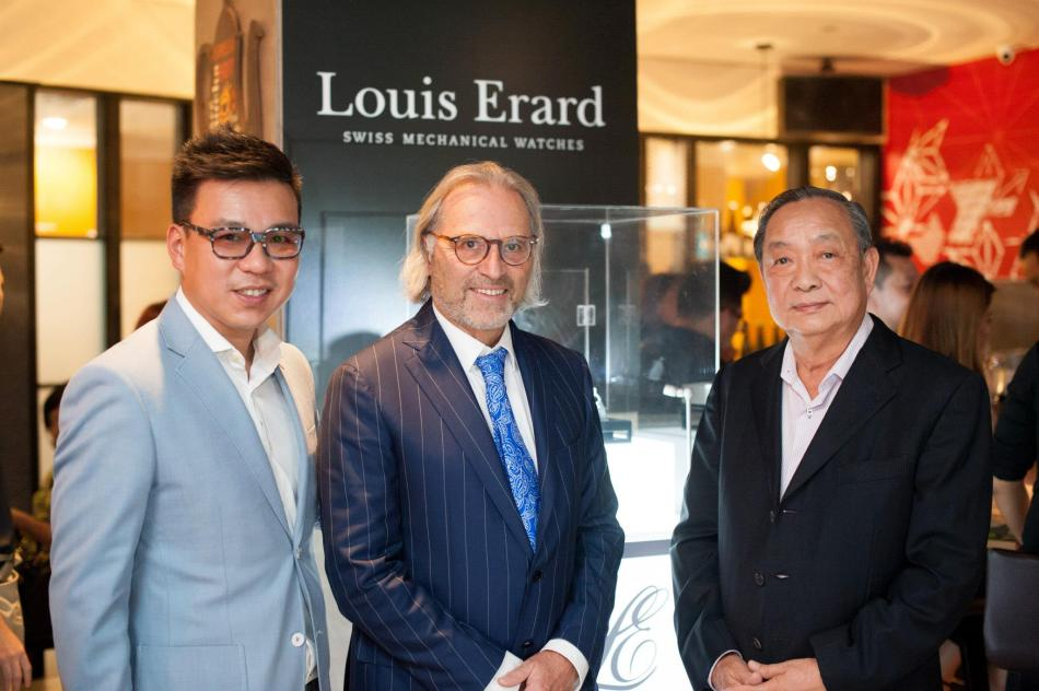 The CEO of Louis Erard, Mr Alain Spinedi, with Brian Tham and Mr. Tham from Watatime