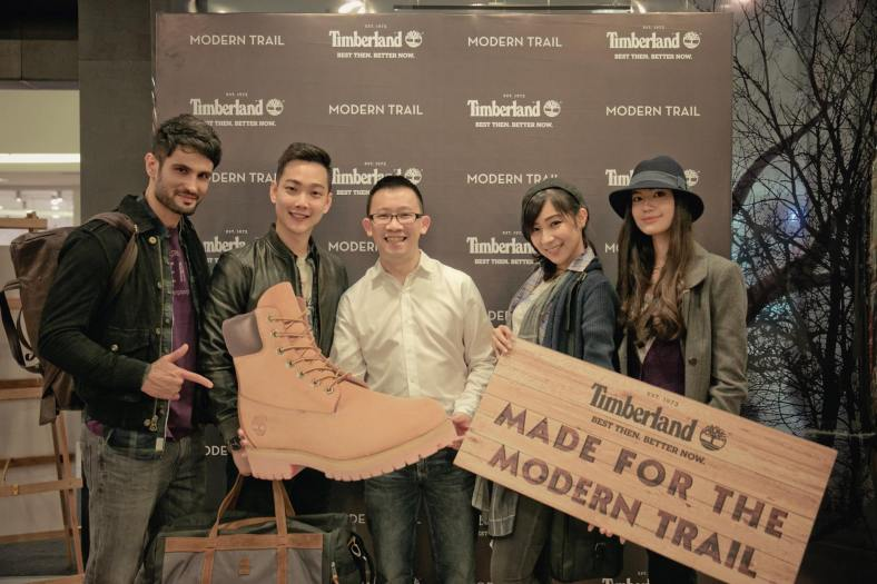 Melvin Chew, Country Manager for Timberland Malaysia with the models which included Red FM's Jeremy Teo and dancer Cecilia Yong