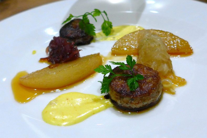 Entrée - Pan-Fried Foie Gras with Duo of Pear, Onion Marmalade and Mixed Cress