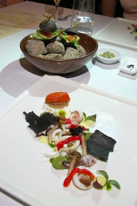 Squid, Paprika, Tierenteyn Pickles, Charcoal Burger