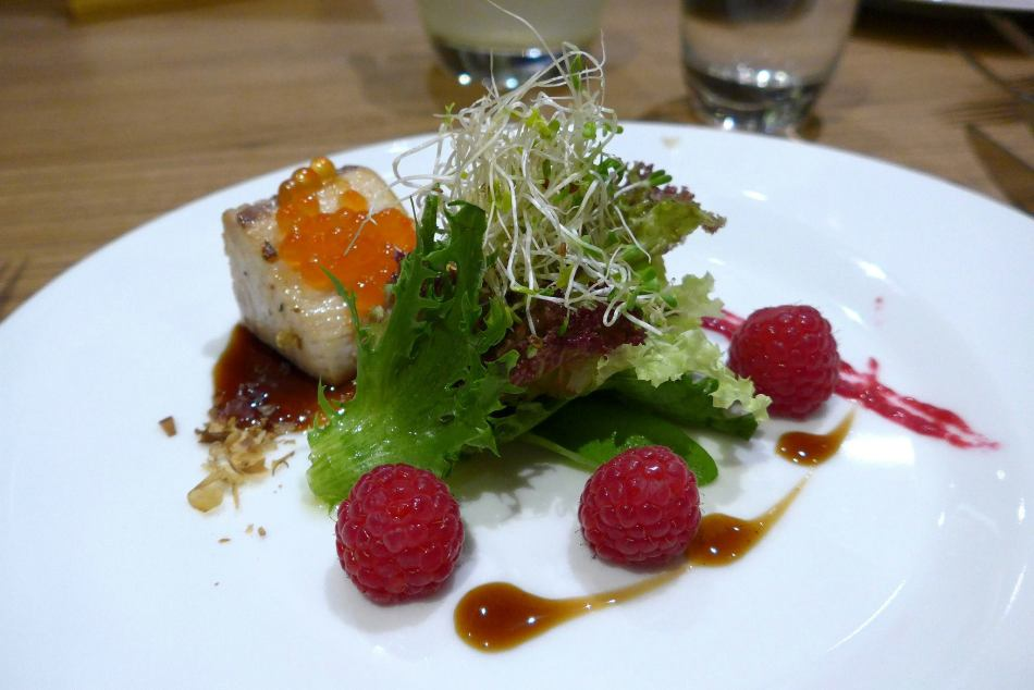Appetiser - Seared Hamachi with Beetroot and Raspberry Condiment, Dashi and Sumac