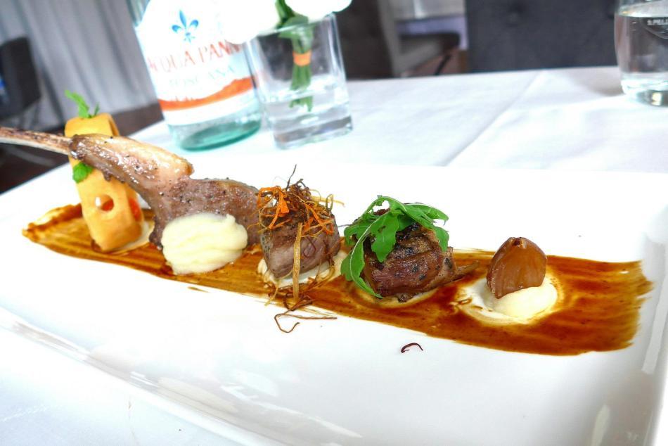 Main Course -Presentation D'agneau en 3 Cuisson, Sauce Au Basilique, Maron Glaces
