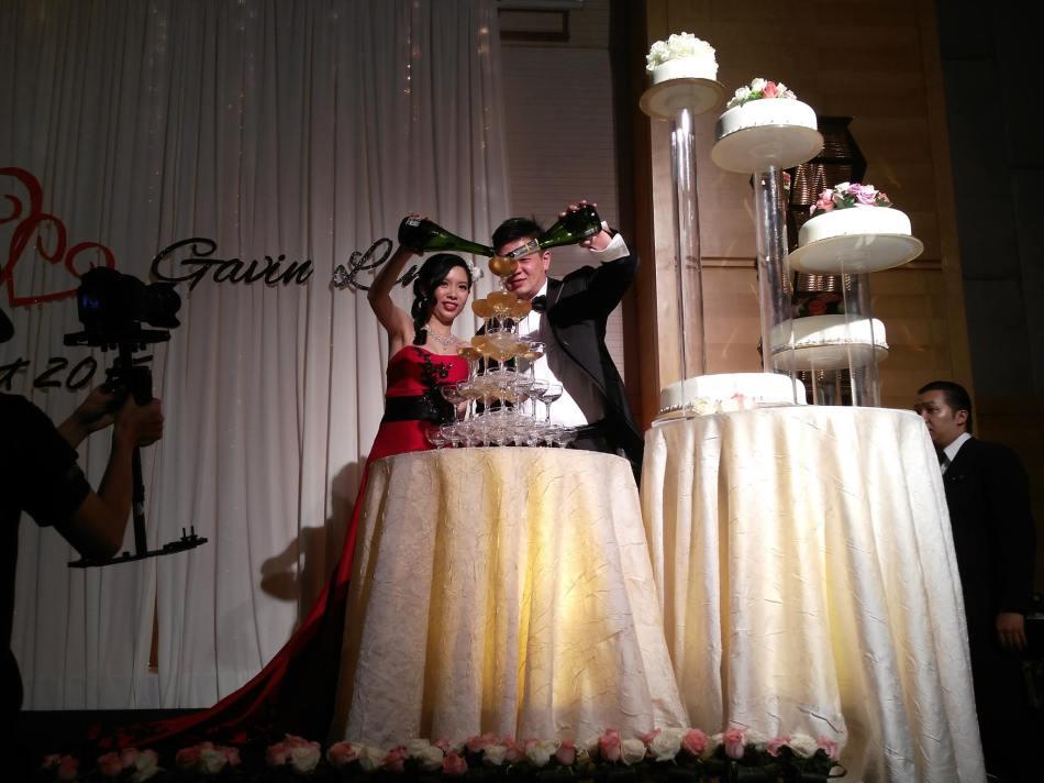 At Crystal's wedding dinner