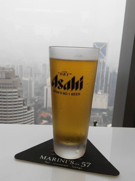 Enjoying my ice-cold Asahi Super Dry while waiting for Adrienne to arrive