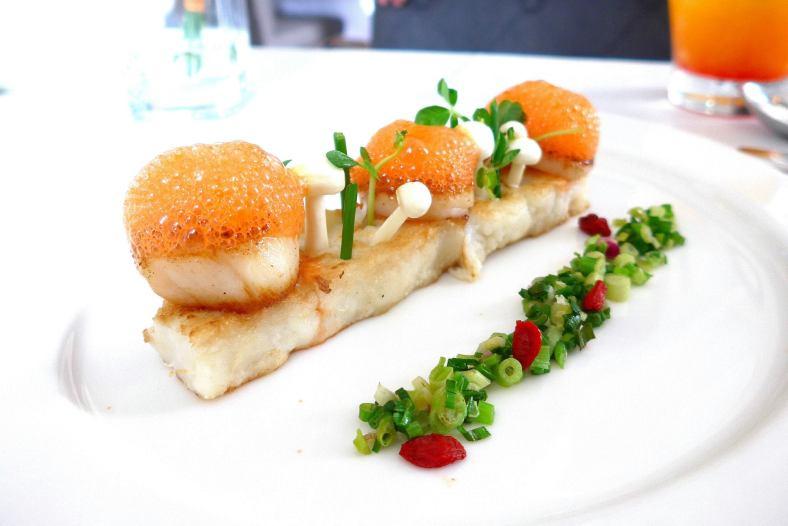 Appetiser 2 -Jardin De Coquille Saint Jacques, Herbes Fraiches et Fleurs, Ecume DeCarotte et Wasabi