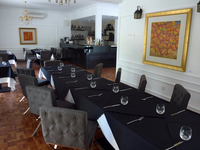 The dining tables on the first floor