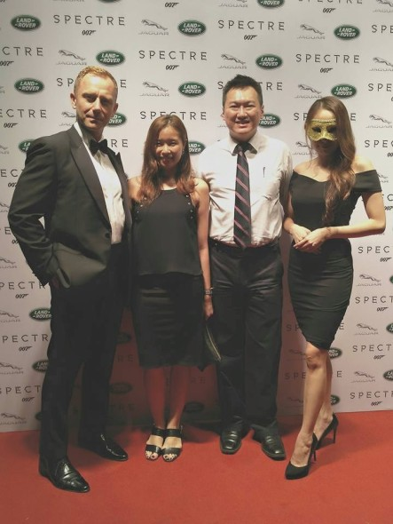 "With Michelle (my partner in crime for the night!), ""James Bond"" and pretty Aileen Tan in the mask at the Land Rover premier of SPECTRE at Pavilion KL"
