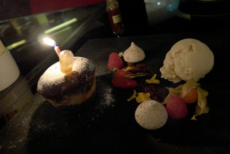 As both Amanda's and my birthday were in November, the outlet was so nice to arrange a candle atop the Chocolate Molten Cake for us