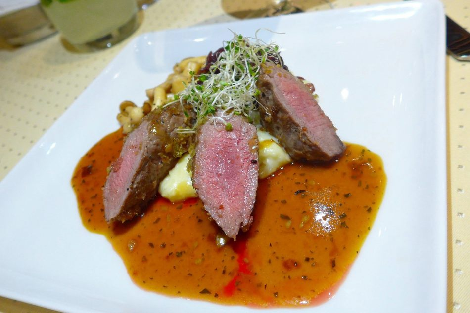 Herb Crusted Lamb Loin with Wasabi Potato Snow and Onion Marmalade