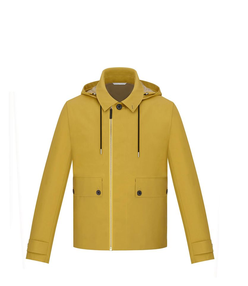 "Yellow and stone bonded cotton blouson with detachable hood, adjuster tabs, horn buttons engraved ""Dior homme"" in white"