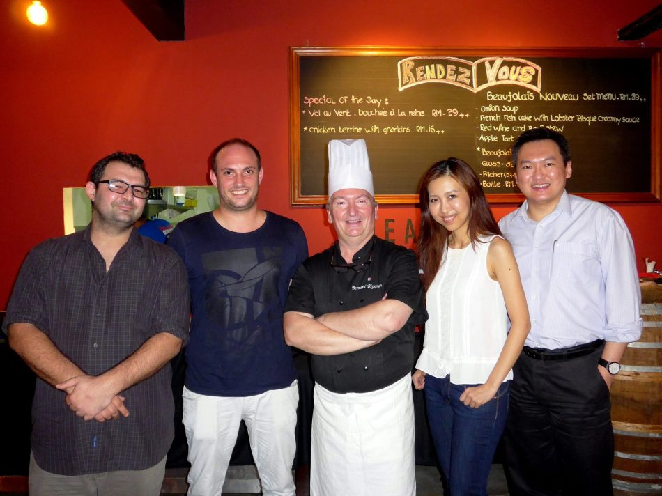 My partner in crime and I with Florian, Arnaud and Chef Bernard