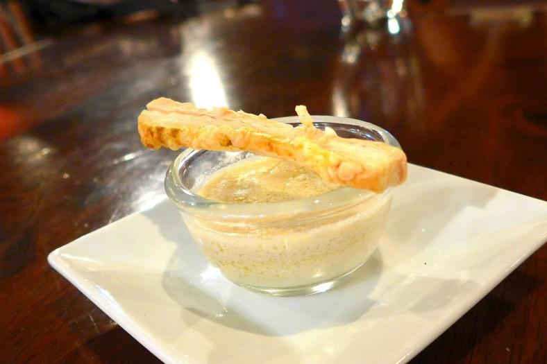 Amuse bouche:Foie gras cream with pastry puff stick