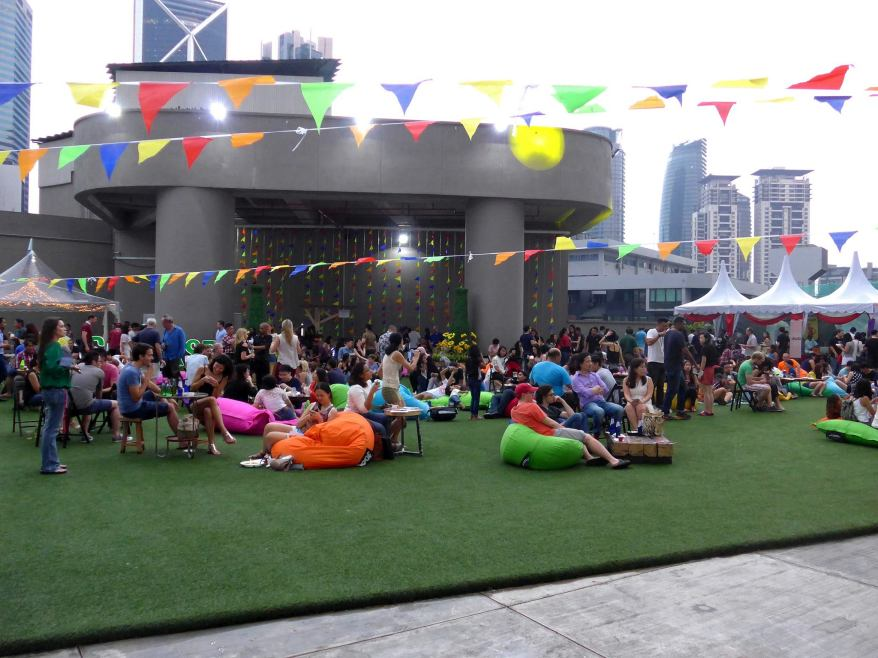 The event was a very chilled out affair with bean bags strewn on the grass