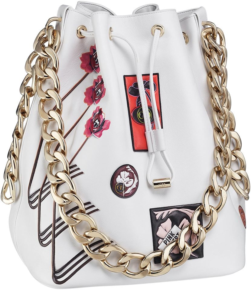 Dior Bubble bag in white paradise calfskin, badges in leather