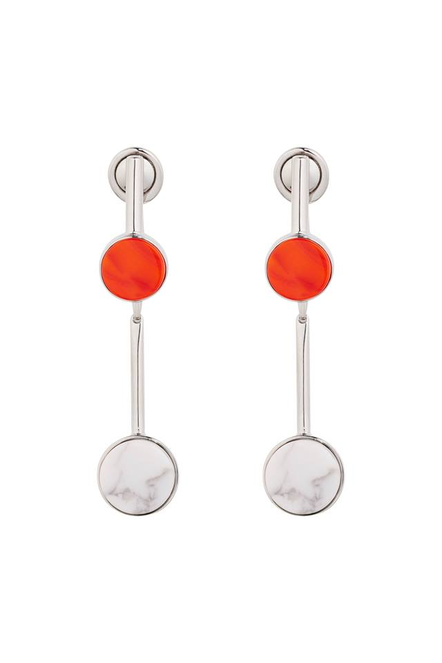 Dior Shades earring in metal with palladium finish, red glass and white howlite stone