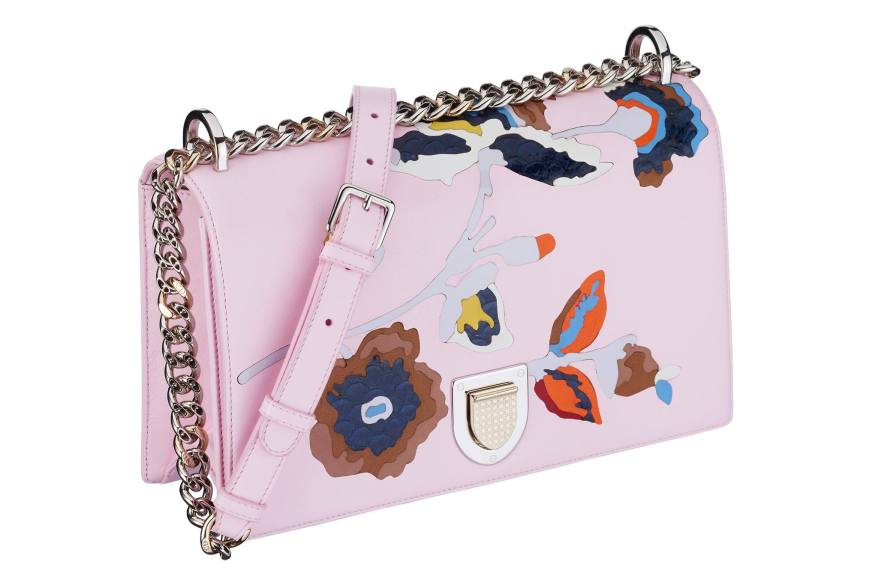 Diorama bag in pink lambskin inlaid with a flower in leather and exotic fish marquetry