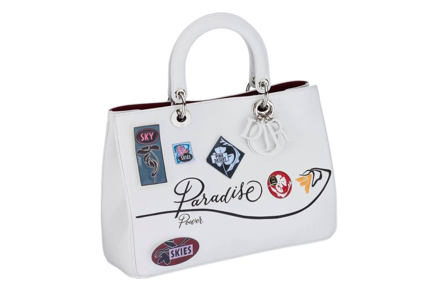 Diorissimo bag in white paradise calfskin, badges and flower in embossed leather