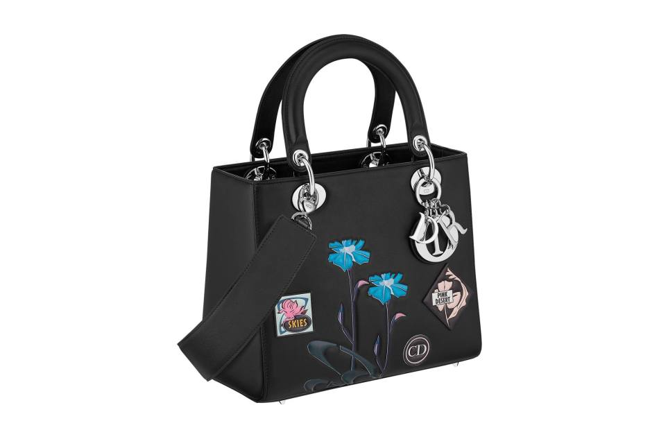 Lady Dior bag in black Paradise calfskin, badges and flowers in embosses leather, large strap