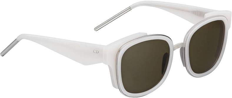 VeryDior2N sunglasses from the Cruise 2016 fashion show. Structured square shape in opaline ivory acetate and silver metal. Graphic temples with silver metal endips. Khaki lenses