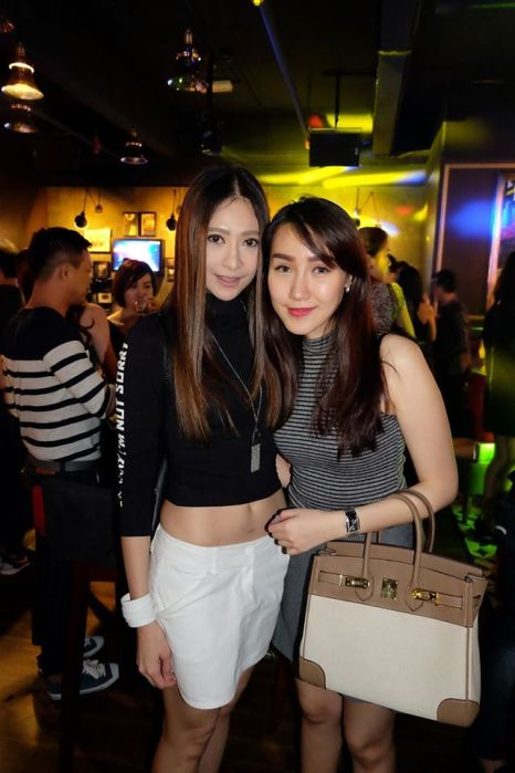 Model Kim Low with a friend
