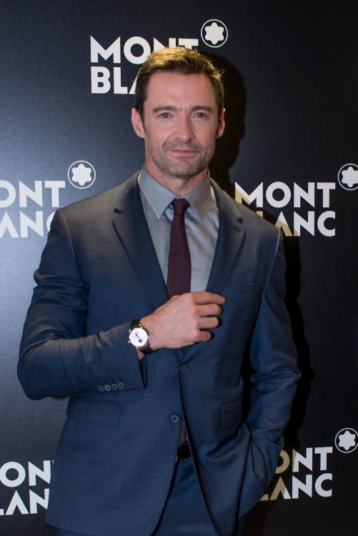 Hugh Jackman wearing Montblanc Heritage Chronométrie Dual Time Vasco Da Gama Limited Edition 238
