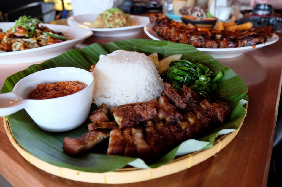 Porky Fat Rice XL - RM20.00- our version of Nasi Lemak with our signature minced pork sambal, mama's rempah pork belly, hard boiled egg, cucumber, ikan bilis & kacang.