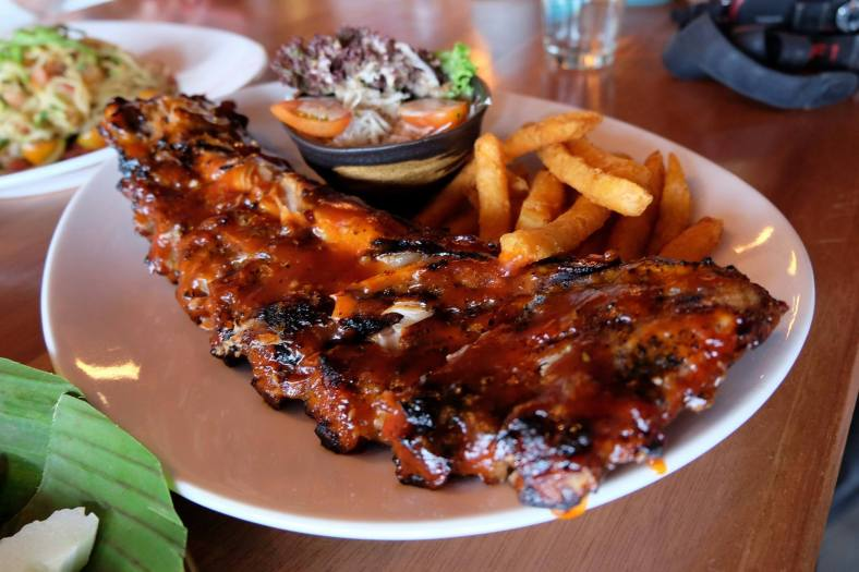 Oink Oink Ribs - RM33.00(full) or RM28.00 (half) - char grill pork ribs with sour plum sauce + sweet potato fries + mini salad