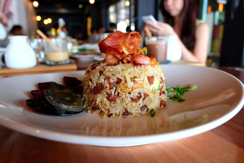 "Babi Fried Rice - RM18.00 - ""chu yao char"" + pork bacon + ""lap cheong"" fried rice + century egg"