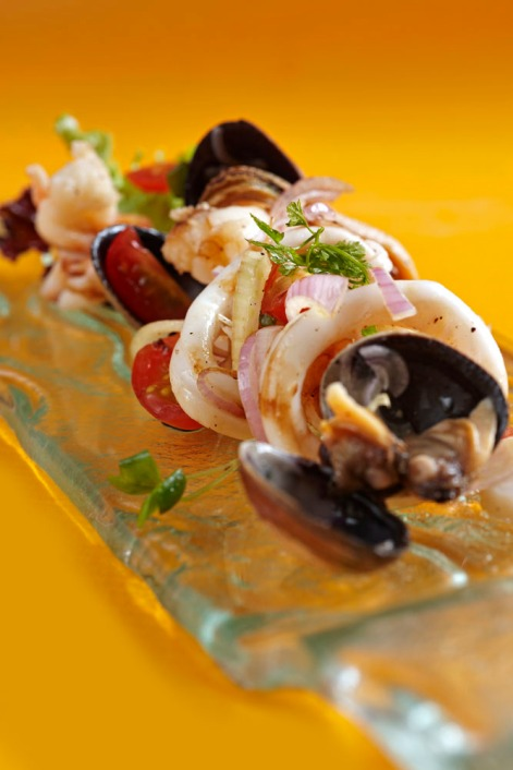 Villa Danieli - Warm seafood salad with fennel, red onionsscented with extra virgin olive oil