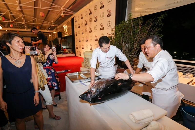 Chef Kimijima and Chef Kawaguchi hailing from Japan treated guests to a bluefin tuna (maguro) fish cutting demonstration