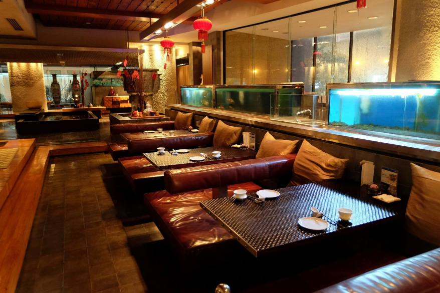 The restaurant has a very warm and inviting interior