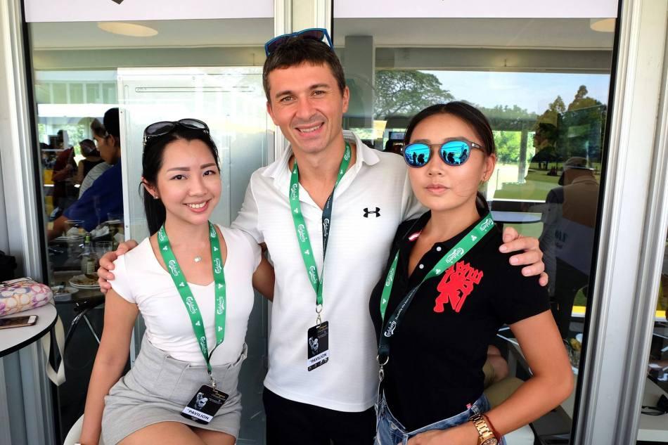 Carlsberg Malaysia's Supply Chain Director David Bidau with Janet and Michelle Lee