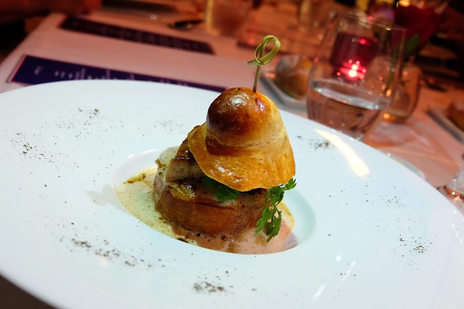Pan-Seared Foie Gras in a Truffled Brioche, Roasted Apples and Apple Cider Emulsion