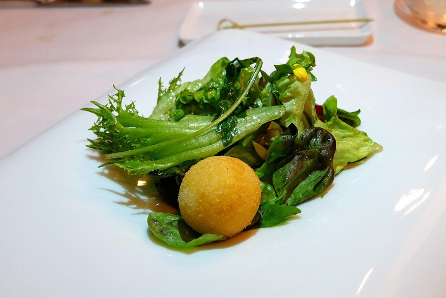Gorgonzola Crispy Cromesqui, Wild Rocket Salad, Hazelnut Dressing