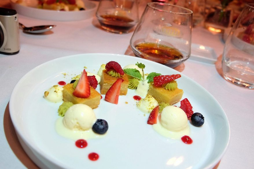 New Age Strawberry Amandine Tart, Almond Ice Cream