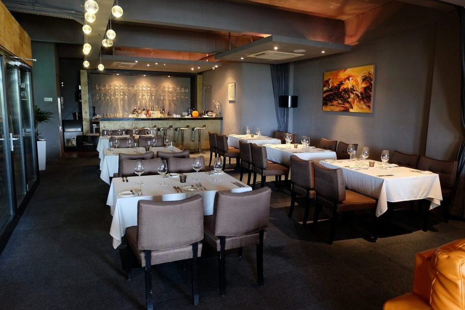 The first floor of the restaurant features a private dining room, a lounge and a dining area (pictured here)
