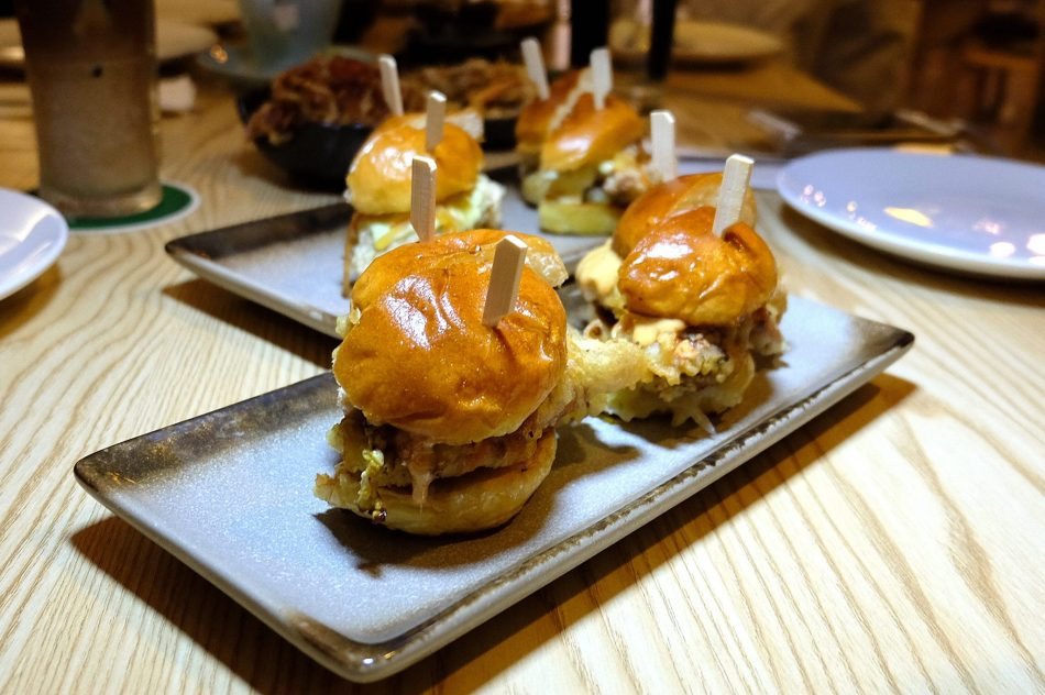 Tiger Beer Battered Soft Shell Crab Buns with Kimchi Mayo - RM12 per bun