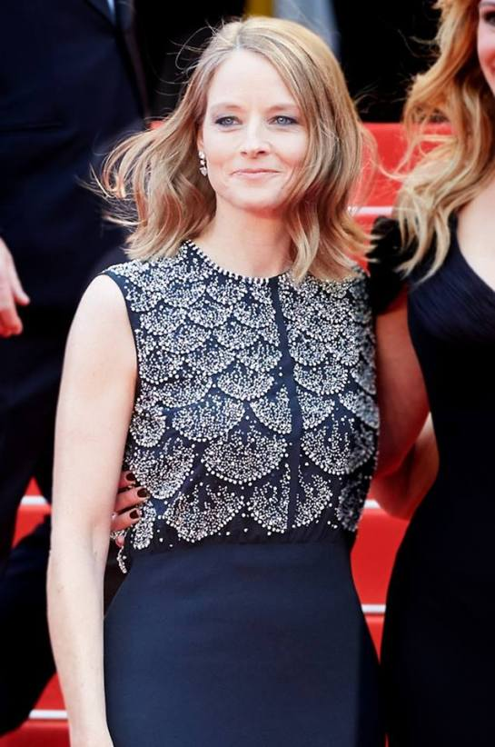 Jodie Foster wore a Dior blue silk crepe dress