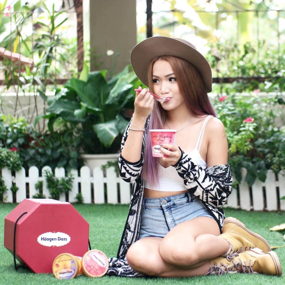 MHB's Stephanie Lim also enjoying her Haagen Dazs ice cream