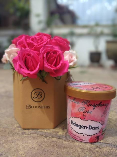 Haagen Daz Lychee Raspberry Rose and bouquet package