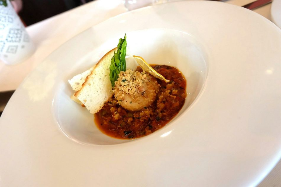 Scallops Alla Puttanesca - RM42.00 -Pan-seared scallop with puttanesca sauce and olive-flavoured breadcrumbs