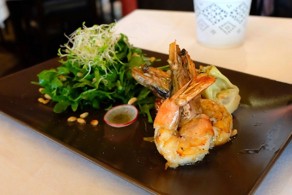 Prawn & Artichokes - RM52.00 -Sea tiger prawn salad with grilled artichokes, roasted pine nuts and whiteraisins