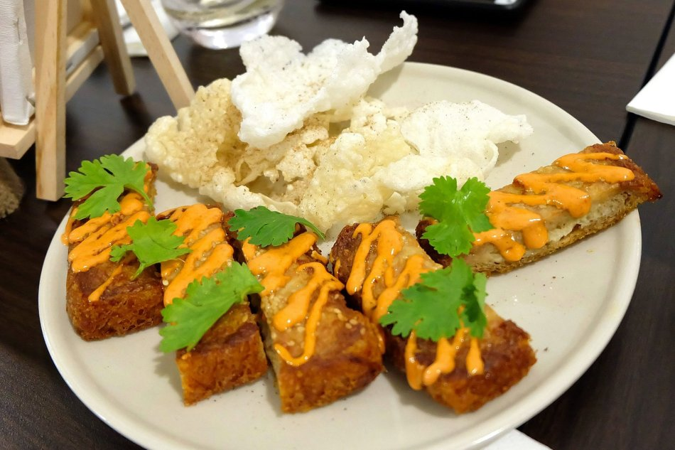 Pork Toast and Rice Crackers
